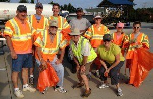 Gloucester Point Rotary Club members cleaning up Hayes Road